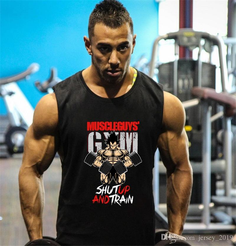 f5baf94ba4dedc 2019 Fitness Dragon Ball Tank Top Men Bodybuilding Clothing Gyms Stringer  Vests Mens Sleeveless Shirt Cotton Singlets Muscle Tops  105538 From  Jersey 2019