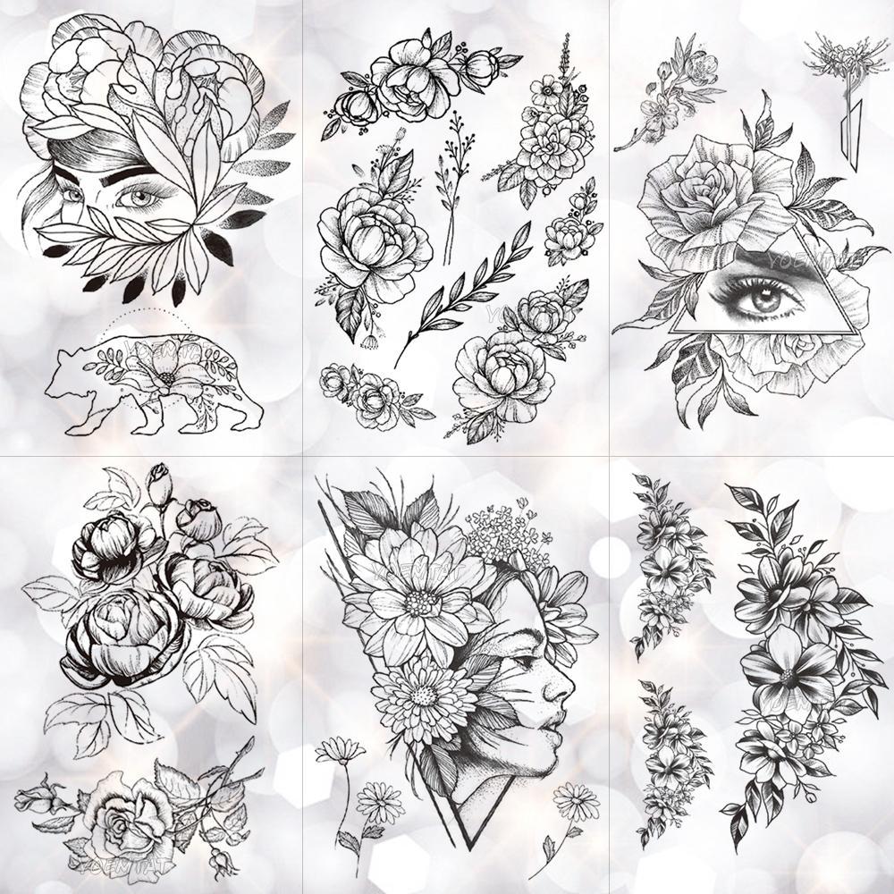 Acheter Fleur Geometrique Rose Oeil Feuilles Etanche Autocollant De
