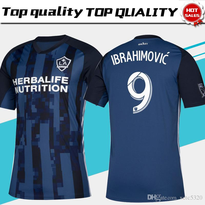 buy popular 2b72b 5e343 MLS 2019 Los Angeles Galaxy away Soccer Jersey LA GALAXY away blue Soccer  Shirt Customized # 9 IBRAHIMOVIC men football uniform size S-4XL