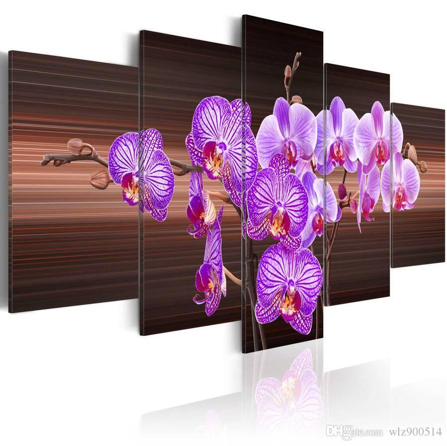5pcs/set Unframed Flower of Joy HD Print On Canvas Wall Art Picture For Home and Living Room Decor
