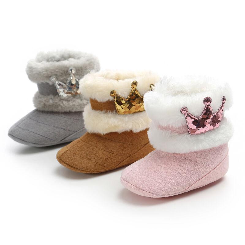 Infant Baby Toddler Newborn Winter Boots Button Fur Faux Zipper Shoes Warm