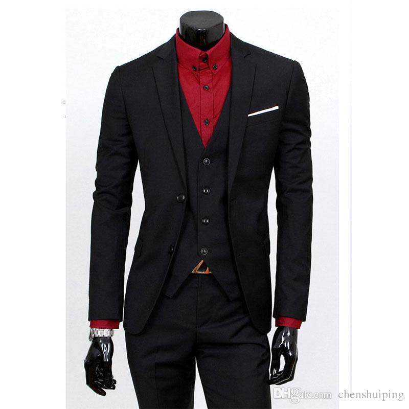 Compre Hombres Blazers + Chaleco + Pantalones 3 Unidades Conjuntos Slim Fit  Trajes Chaqueta De Banquete De Boda Traje De Hombre De Negocios De Padrino  De ... 4a5faea7d793