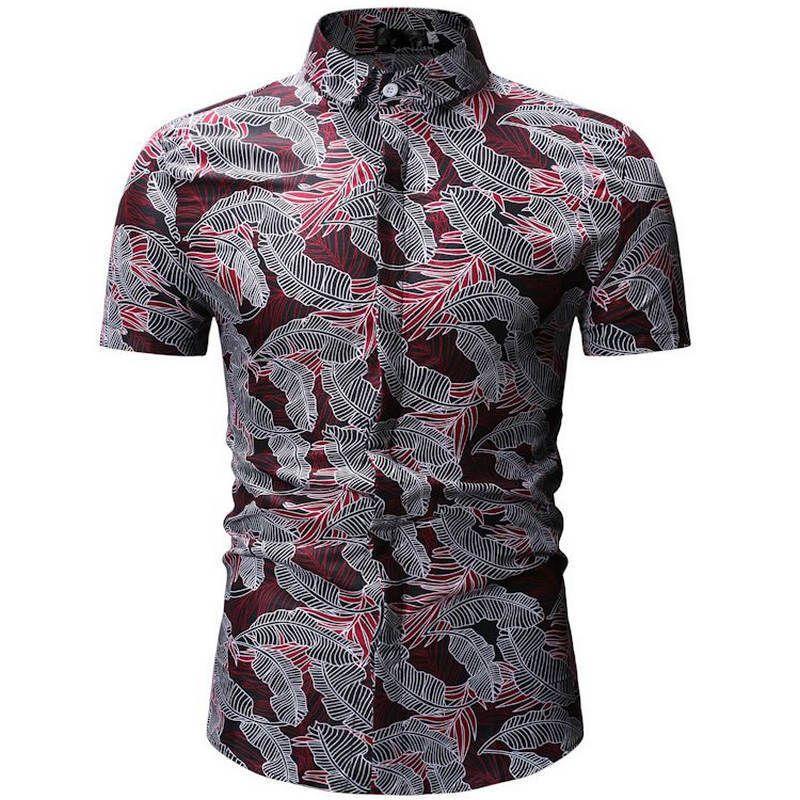 7e4d3a361f Compre 2019men Camisa Estilo Verão Palmeira Impressão Praia Camisa Havaiana  Homens Casuais Camisa De Manga Curta Havaí Chemise Homme 26 Cor De Lusi01
