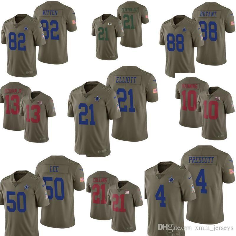 quality design 381cb fd5fa 2017 Salute to Service 21 Ezekiel Elliott Jersey Mens Dallas Cowboys 4 Dak  Prescott 50 Sean Lee 82 Jason Witte 88 Bryant Jerseys