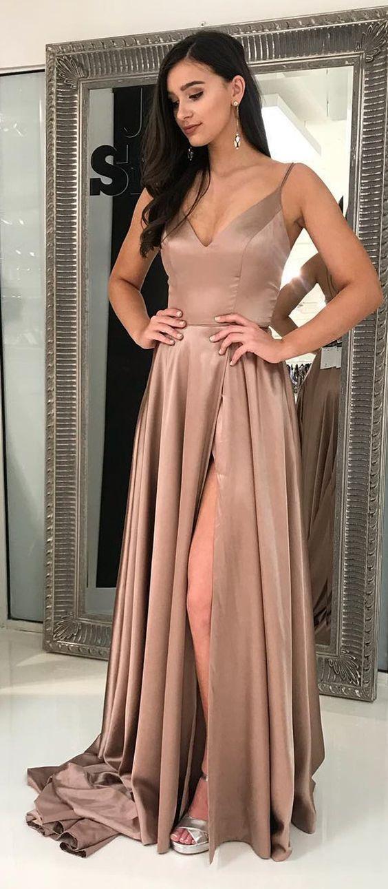 60b59a042659 Champagne Sexy Long Stain Prom Evening Dress With Side Slit Graduation Dress  Evening Dress Online Malaysia Evening Dress Plus Size From Feliru, ...