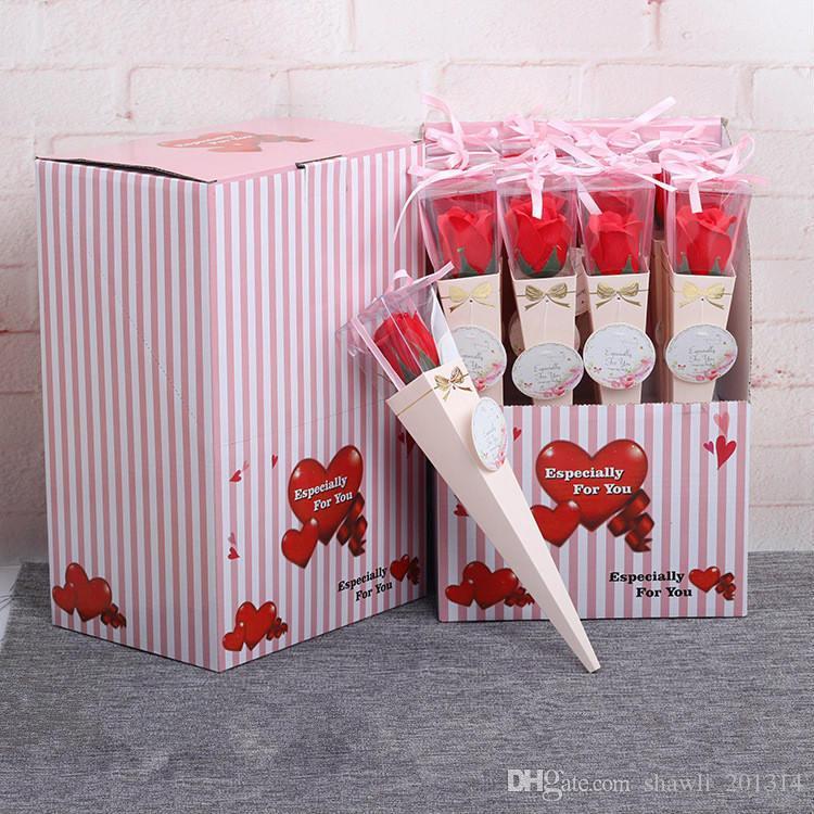 New 1pc Premium Paper Elegant Single Flower Rose Cone Gift Plastic Box Valentines Day Wedding Decoration 35cm