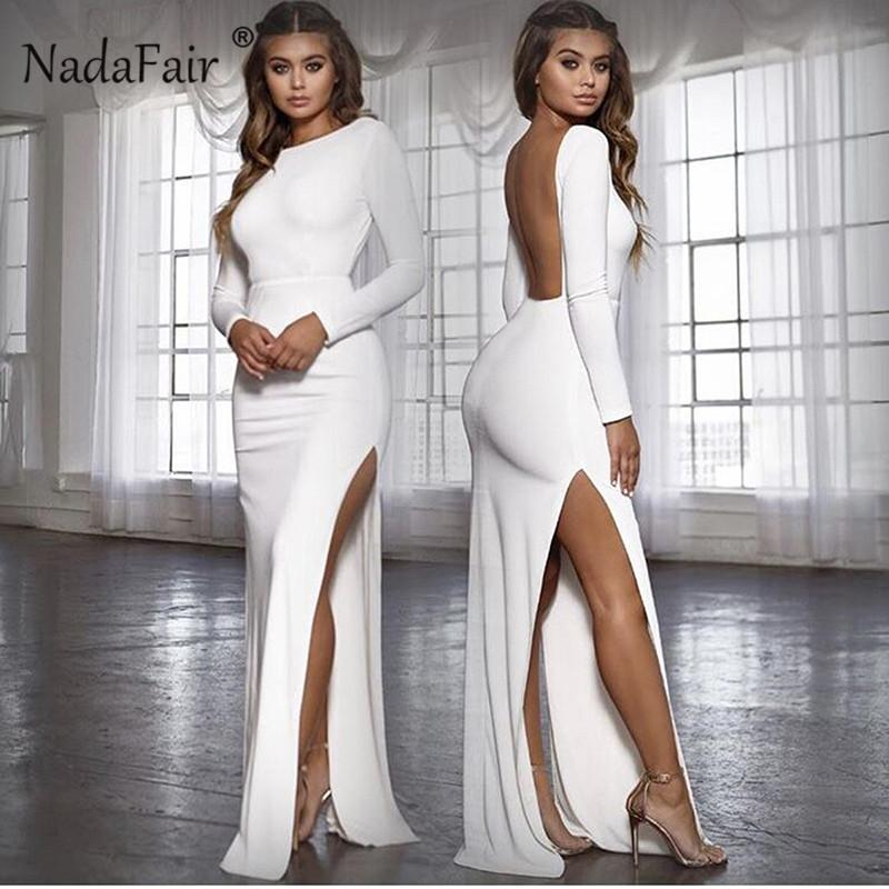 Wholesale Backless High Split Women Long Sexy Club Party Dress Vestidos  Autumn Long Sleeve O Neck Maxi Bodycon Dress Elegant Online with   36.39 Piece on ... dbcc9aa8f555
