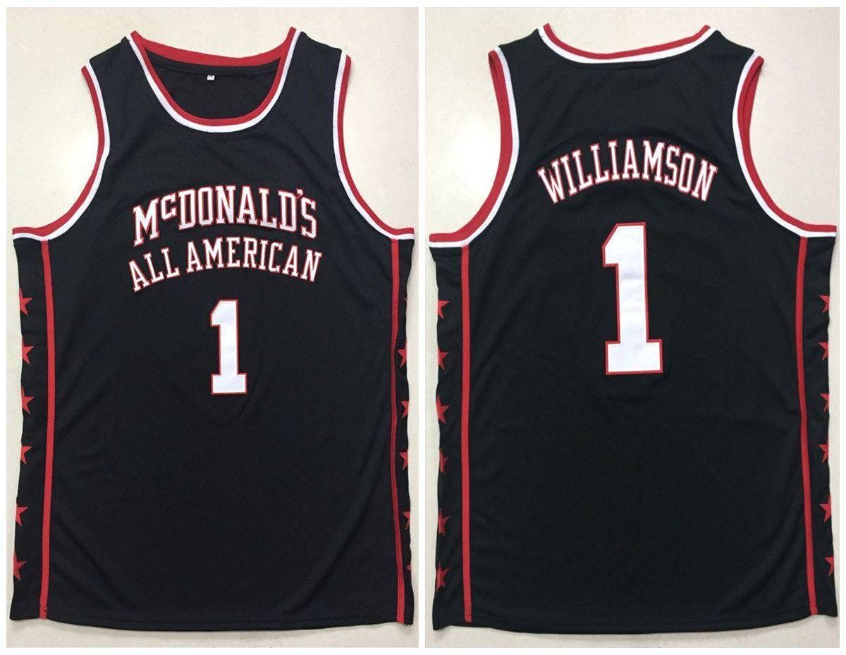 4da4d9fa904 McDonald's All American #1 Zion Williamson Black Retro Basketball Jersey  Mens Stitched Custom Any Number Name Jerseys