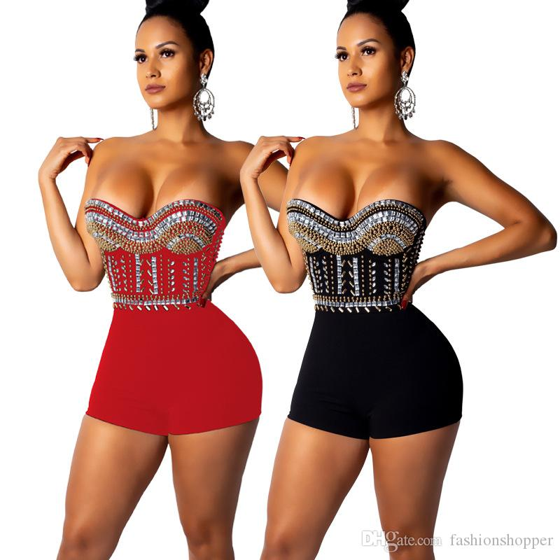 fe3539894c9 2019 Shiny Rhinestones Sexy Jumpsuits For Women Strapless Cold Shoulder Club  Party Playsuit Sleeveless Backless Bandage Bodysuit From Fashionshopper