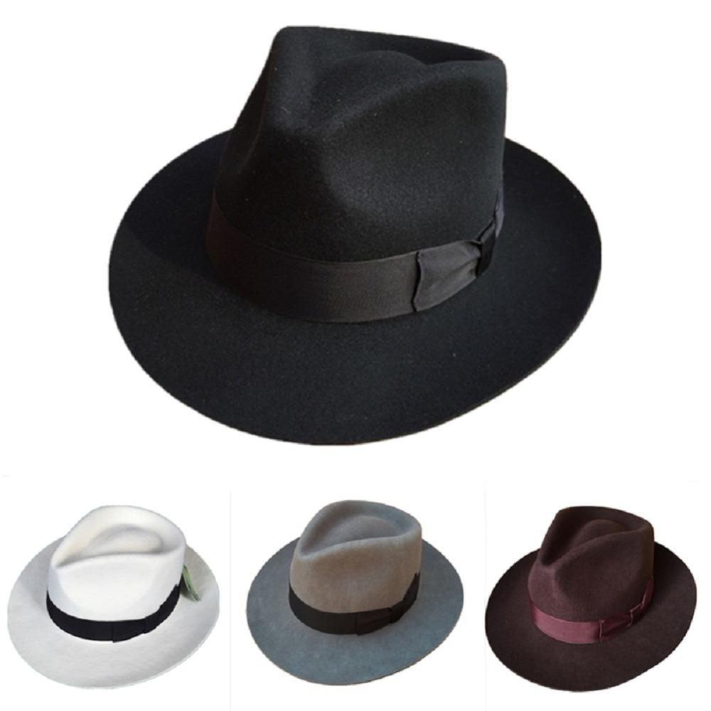178add2eb Classic Men's Wool Felt Godfather Fedora Hat - Gangster Mobster Michael  Jackson Gentleman Hat -many Colors Q190417