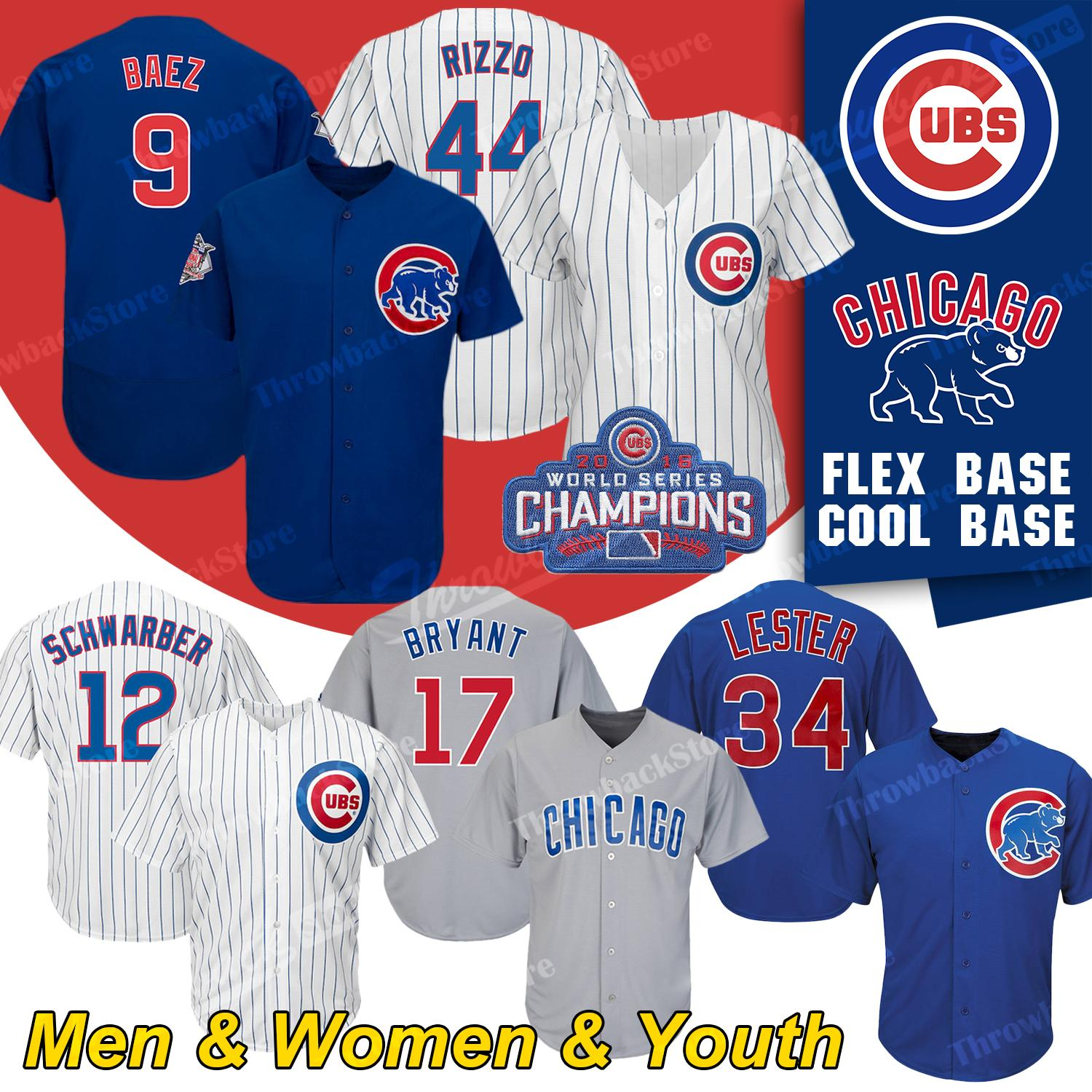 get cheap 2d6b1 8db4a Chicago Custom Cubs Jerseys Javier Baez Anthony Rizzo Kris Bryant Kyle  Schwarber Willson Contreras David Bote Jon Lester Sammy Sosa