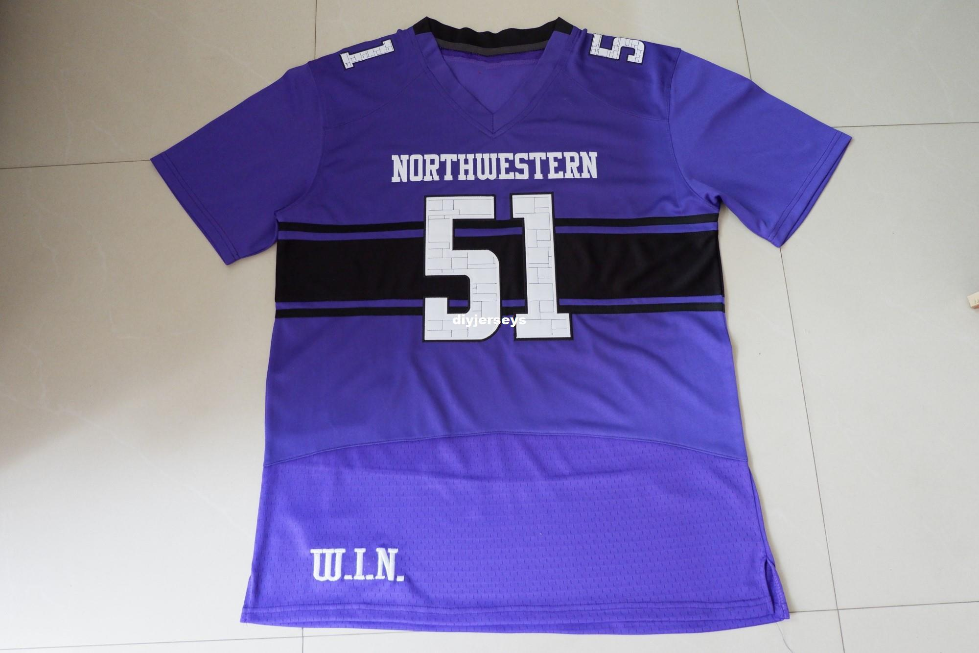 save off 4f707 66d14 Cheap Custom NORTHWESTERN WILDCATS #51 Add any name any number Football  Jersey Purple MEN WOMEN YOUTH S-5XL