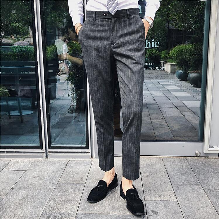 49242f8e06db 2019 Fashion Stylish Men Plaid Stripe Casual Suit Pants Classic Business  Party Trousers Pantalon Costume Homme Formal Men Pants From Baxianhua, ...
