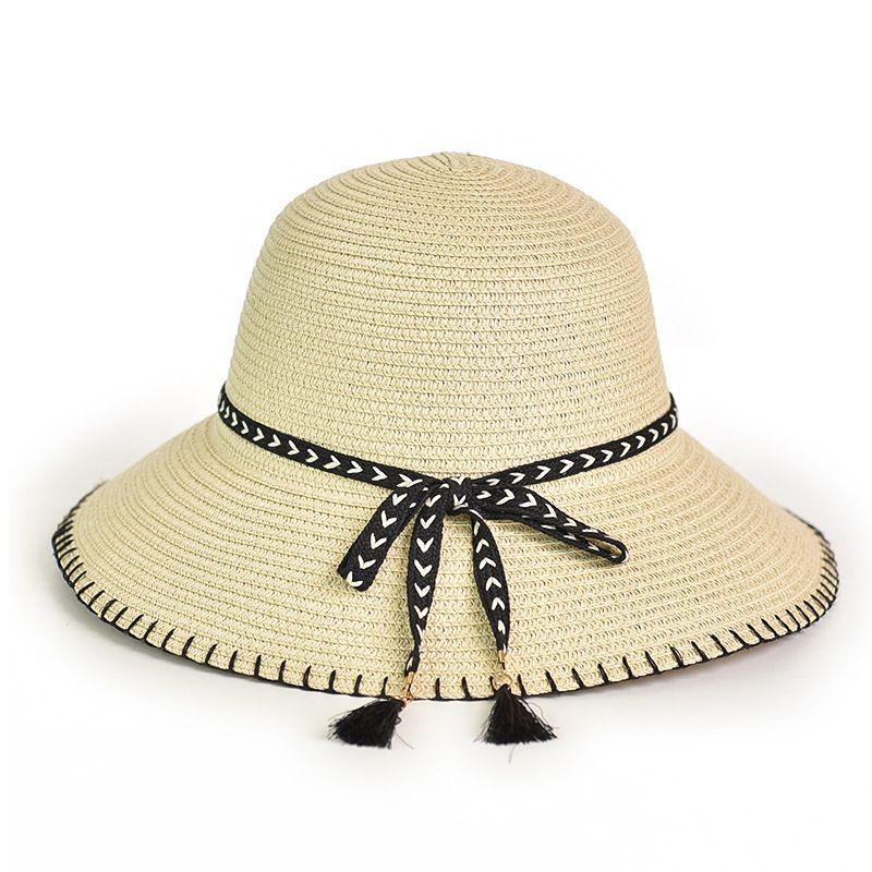 4715ae5e Summer Straw Hats Women Wide Brim Beach Hat Casual Bow Ribbon Sun Hat UV  Protection Panama Chapeu Feminino Cap Floppy Hats Black Floppy Hat From  Winterleng, ...