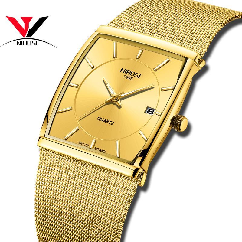 fecd98a76352 Compre NIBOSI Marca De Lujo Relojes Para Hombres Reloj De Negocios Para  Hombres Cuarzo Militar Relojes Correa De Acero Inoxidable Reloj Casual De  Oro A ...
