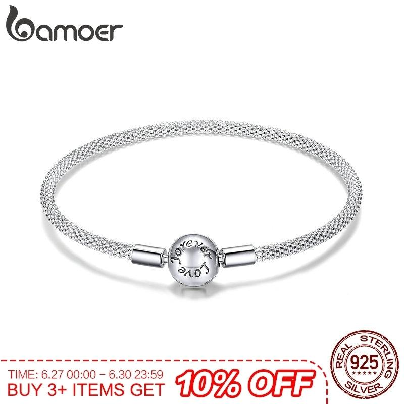 Bamoer Classic 100% 925 Sterling Silver Love Forever Love Snake Chain Bracelets Women Sterling Silver Jewelry 17cm 19cm Scb105 Y19062901