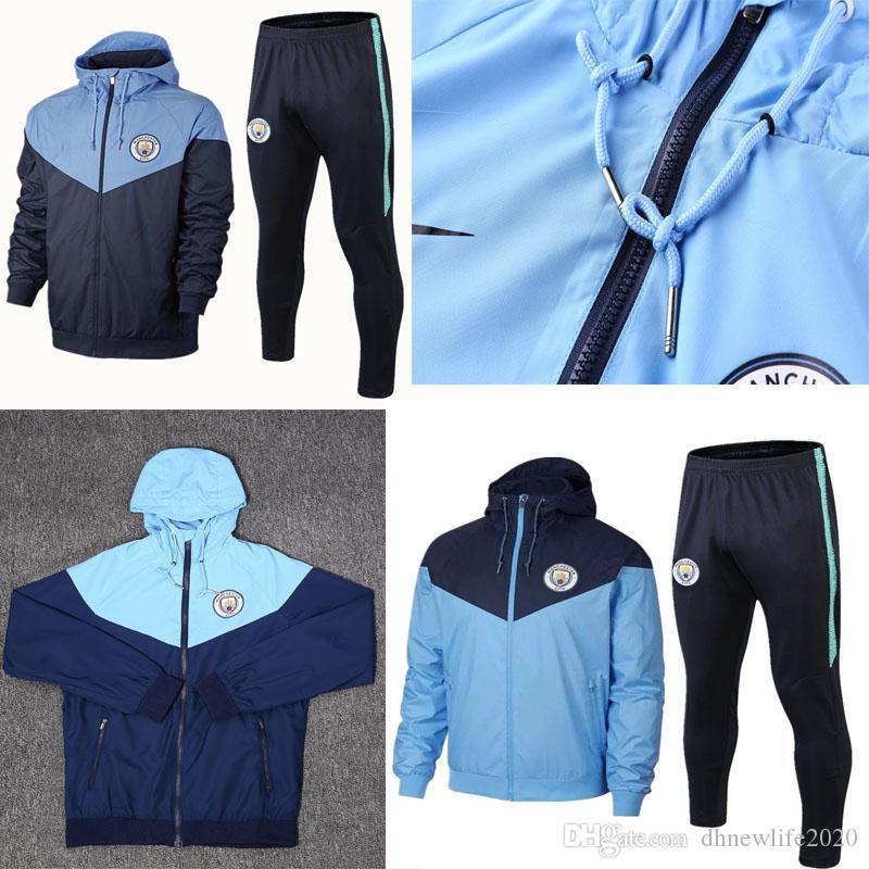 new style 51719 791ec 19/20 Tracksuit Kit Man City Training Suit Adult Uniform 2019/2020 Football  Sportswear Jersey Manchester Long Sleeve jacket Training Suit
