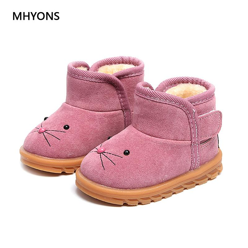 b670710ce Mhyons 2018 Winter Girls Boot Boys Snow Boots Children Ankle Plush  Cotton-padded Suede Warm Booties Fashion Baby Shoe Sneakers Y190525