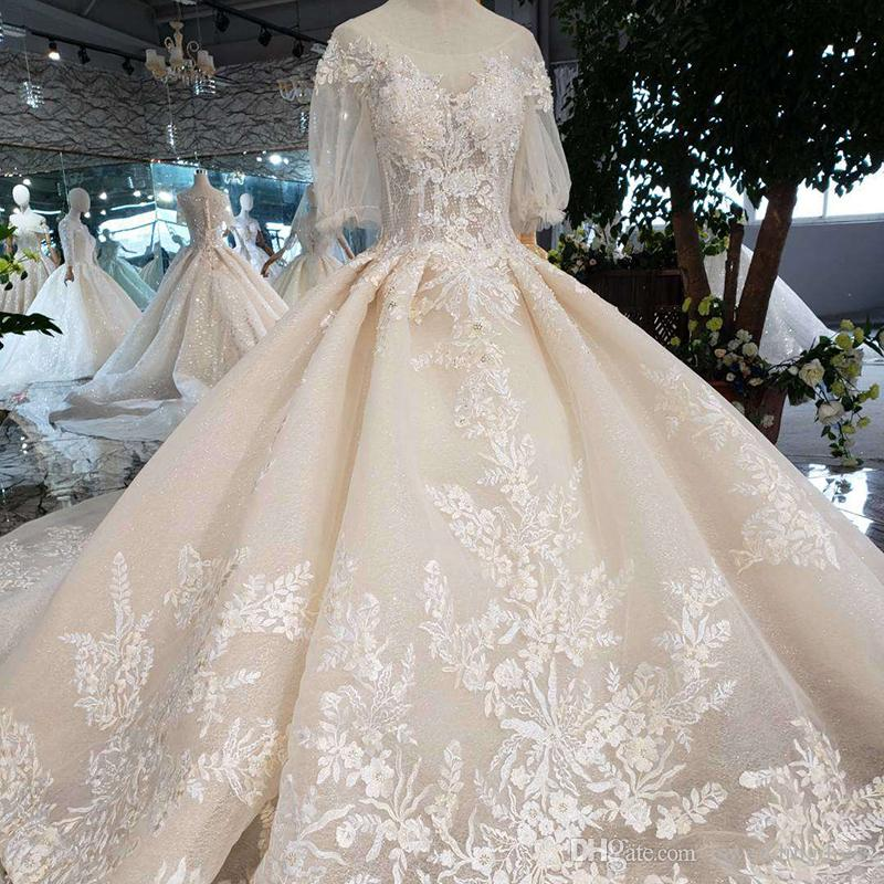 689ea5a48d23 2019 Newest Design Turkish Wedding Dresses Lace Up Back Illusion Sweetheart Neck  Wedding Gowns Handmade Shining Crystal Flower Bridal Gowns Ball Gown ...