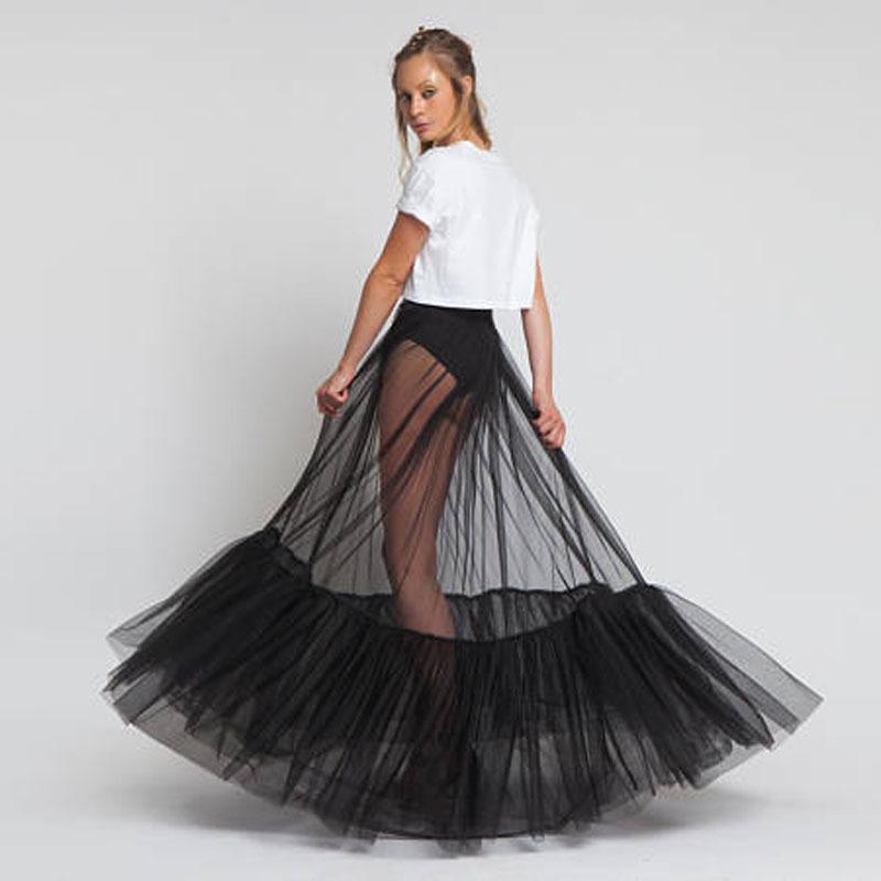 save off 59f51 97c7c Sheer One Layer Black Maxi Rock Durchsichtig Damen Schwarzer Tüllrock mit  einzigartigem gerafften Rand 2018 Neues Design Kein Futter