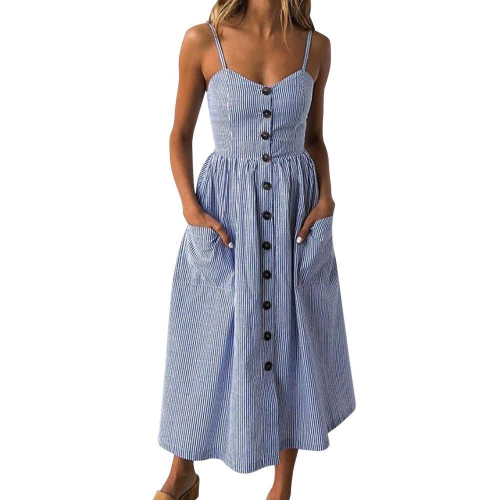 b9f91def1 Compre Vestido Azul A Rayas Verticales De Las Mujeres 2019 Botones De Moda  De Verano Bolsillos Delanteros Correa Vestidos Vestidos De Playa  BF A   32.44 Del ...