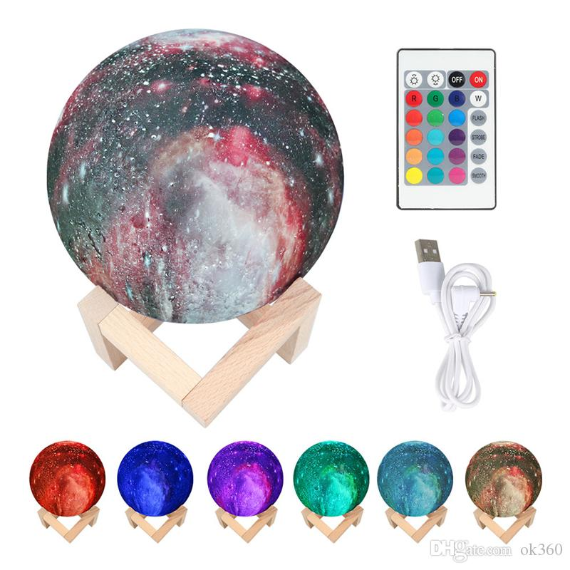 3D Print Starry Sky Moon Planet Lamp 7 Color Change Rechargable Moon Night Light Touch Switch Projector Lamp