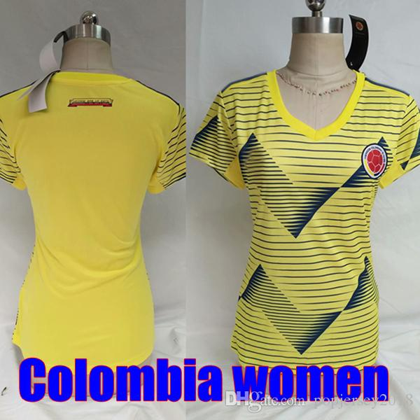 big sale 4fa80 1efcf Thailand women COLOMBIA soccer jersey 2019 2020 Jersey FALCAO CUADRADO  BACCA JAMES Colombia 19 20 Football kit girls soccer shirt camisetas