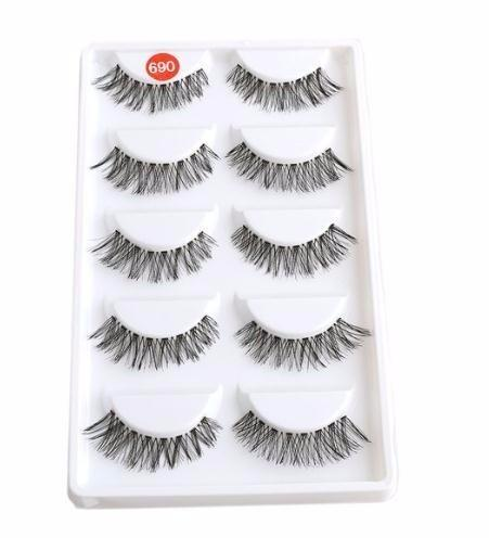 5 Pairs Lot Black Cross False Eyelash Soft Long Makeup Eye Lash Extension Make Up Cosmetic Natural Eye Makeup Tools