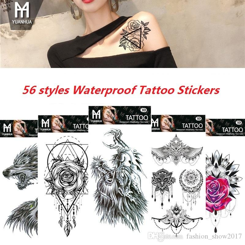 84e0efd9e96d4 Waterproof Temporary Tattoos Stickers Dreamcatcher Feather Totem Flower Fake  Flash Tattoo Stickers Body Art For Men Women Beautiful Name Tattoos Body  Tattoo ...