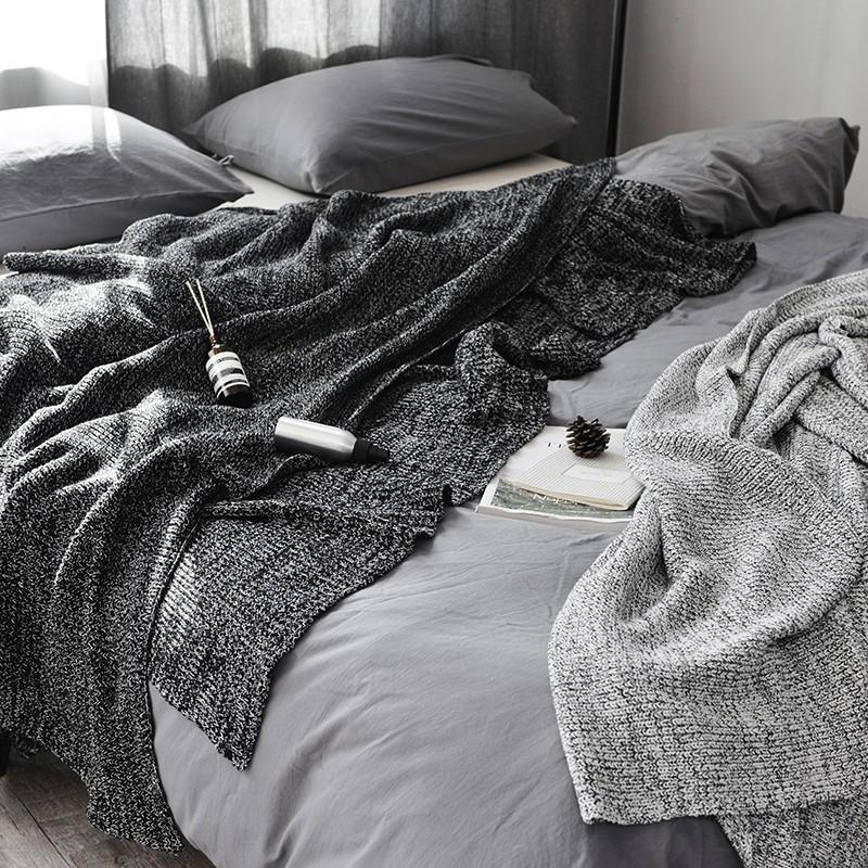 2019 Black Fishbone Cable Knit Throw Blanket For Couch Sofa Chair Home  Decorative Gray Blanket