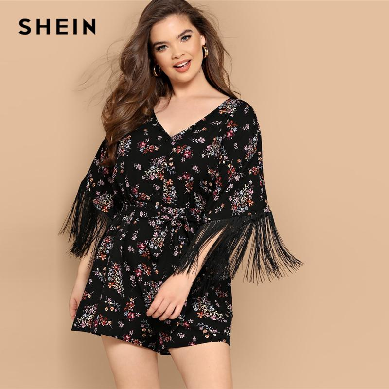 924c34b34 2019 Boho Fringe Cuff Ditsy Floral Belted Romper V Neck Black Plus Size  Playsuit Women Half Sleeve High Street Playsuit C19041001 From Linmei0004,  ...