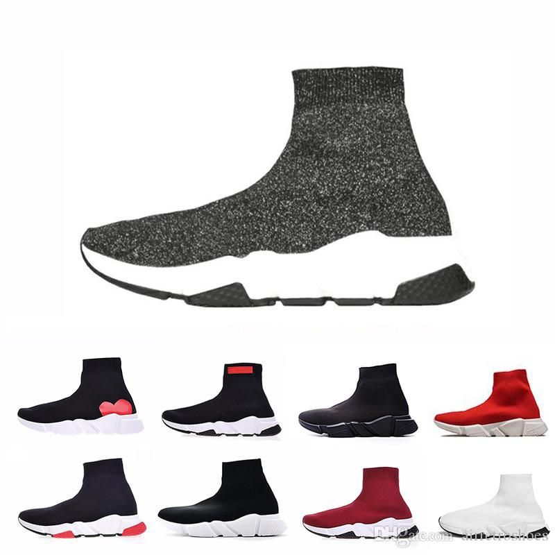565b16c21 ACE Luxury Brand Designer Casual Sock Shoes Speed Trainer Black Red ...