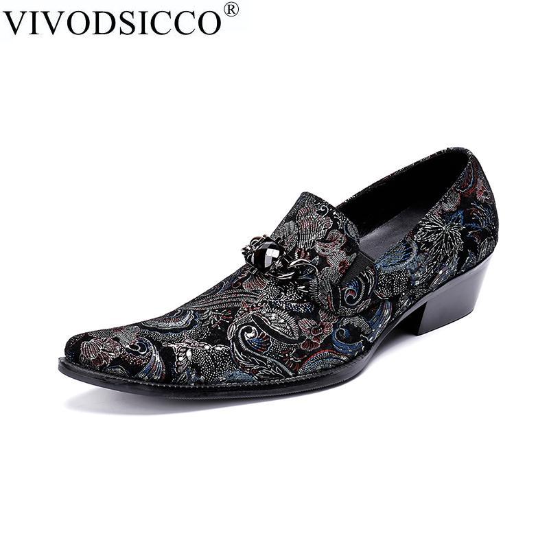 502195bb24b472 Compre VIVODSICCO Zapatos De Vestir Para Hombre Tacones Altos Zapatos De  Boda De Cuero Para Hombre Hombre De Negocios Formal Oxfords Para Trabajo  Más El ...
