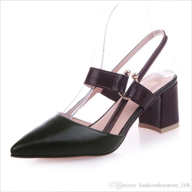 48a98e5fb0 Compre Calcanhar De Salto Grosso Dedo Apontado Sapatos 2019 Nova Moda Maré  Oco Trabalho Das Mulheres Sapatos De Salto Alto Verde Com Alças Salto  Grosso ...
