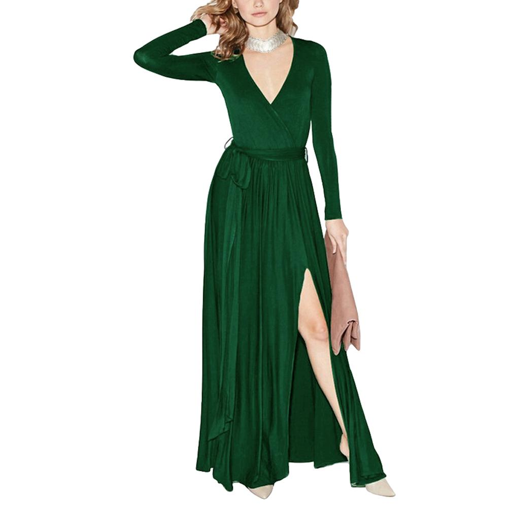 Sexy Women Autumn Maxi Dress Plunging V Neck High Split Wrap Dress Long  Sleeve Bandage Solid Slim Elegant Long Dress Black/Green Women In Short  Dress Women ...