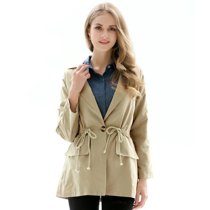 low priced 99028 d806f Inverno casual donna trench cappotto di colore solido turndown collo  singolo pulsante giacca a vento lunga signora kaki giacca cappotto per donna