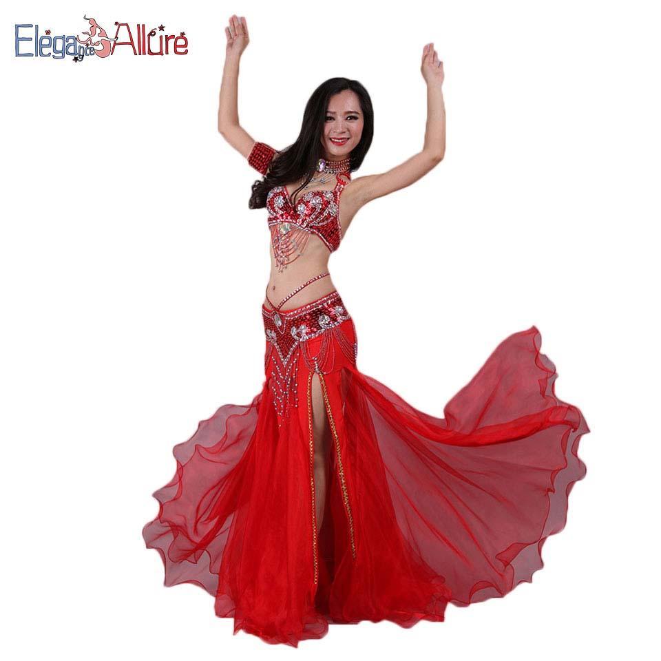 6408f251a Compre EA Mulheres Dança Do Ventre Traje De Desempenho Conjunto De Dança Do  Ventre Moda Top Belt Colar Pulseira Saia Dancewear Acessório De Samanthe