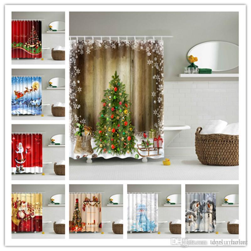 2019 Creative Shower Curtain Christmas Fabric Waterproof Bathroom