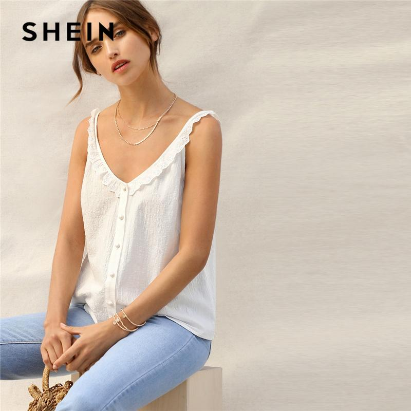 53e37c1a 2019 White Eyelet Embroidered Ruffle Trim Button Front V Neck Cami ...