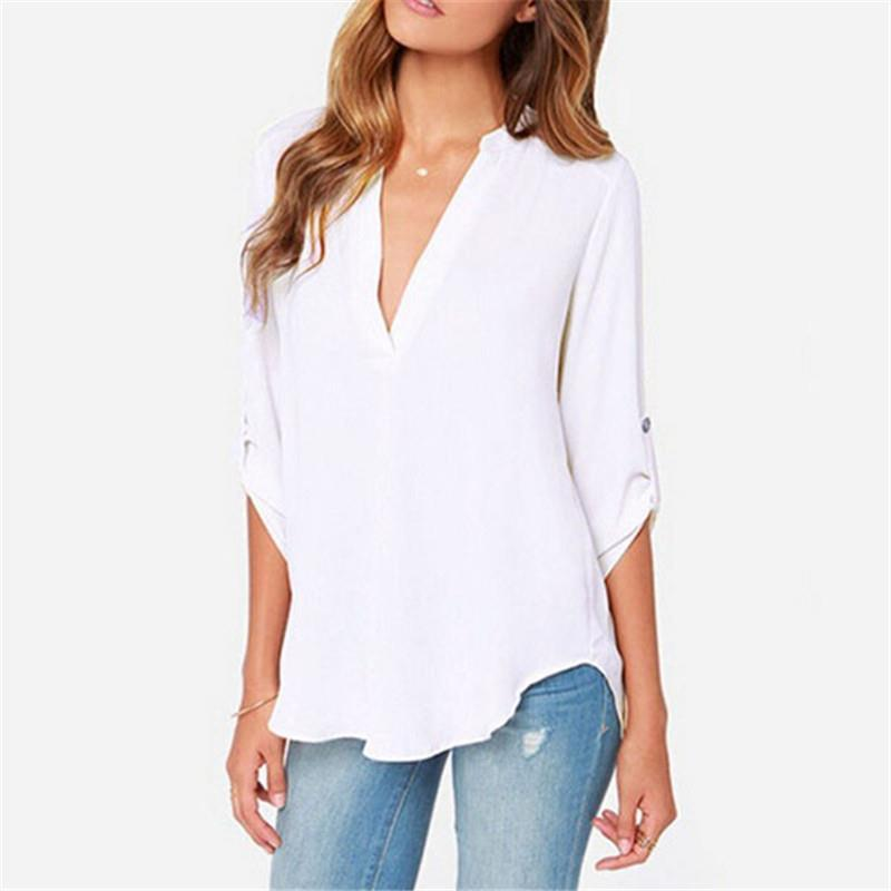e2e47e598c9 2019 Women Long Sleeve Chiffon V Neck T Shirt Autumn Sexy Casual Tops Womens  Plus Size Tee Solid Color Business Tops. From Tt tees