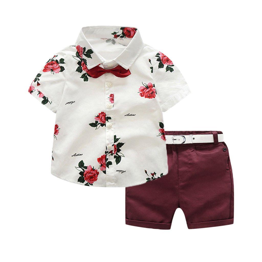23b51b7f07ee 2019 Vestidos de verano Fiesta diaria Niño Niño Traje de caballero Rosa  Pajarita Camiseta Pantalones cortos Pantalones Traje Conjunto Ropa para  niños
