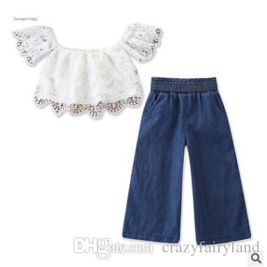 f04594acdabad 2019 Baby Girls Lace Clothing Outfits Set 2019 Summer Children Off Shoulder  Lace Tops Wide Leg Jeans Denim Pants Kids Toddler Girls Clothes 2 7Y From  ...