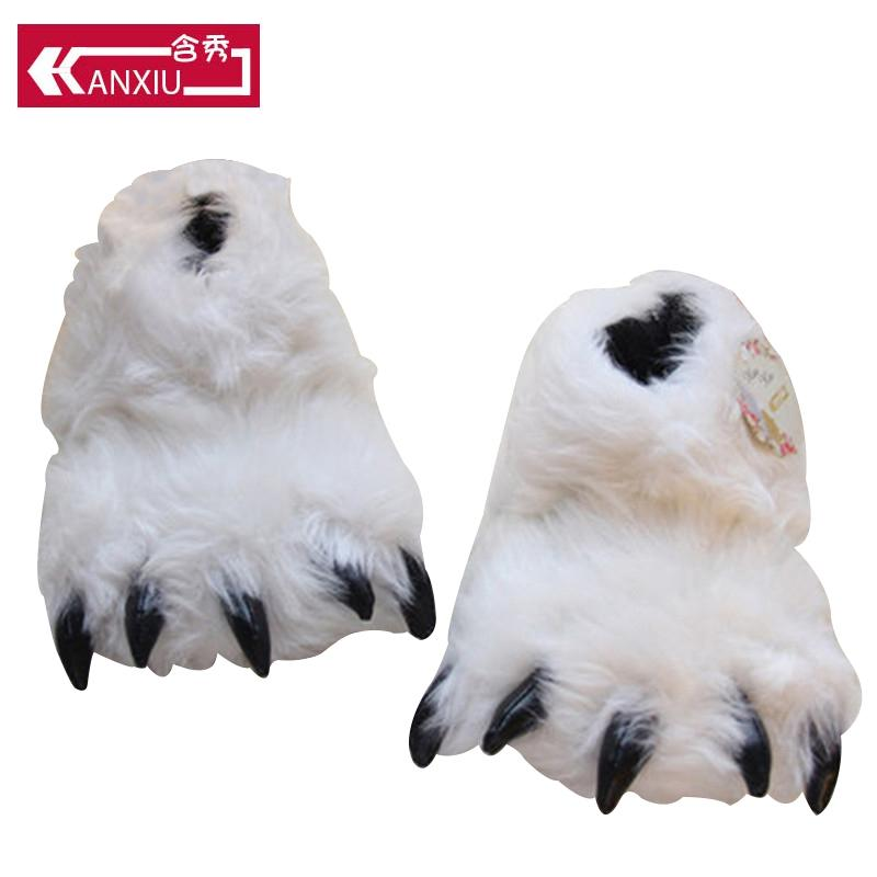 c6520773527 Fluffy Winter Slippers Women Bear Paw Design Home Floor Cartoon Flat  Slippers With Faux Fur Indoor Shoes Warm Women Shoes Mens Slippers Boots  For Women From ...