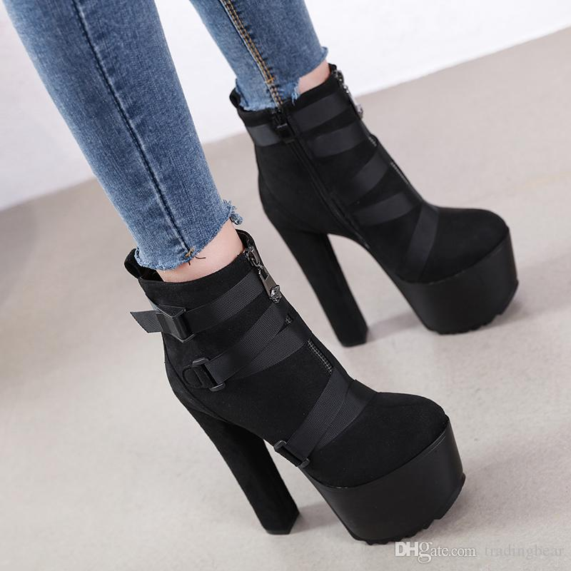 16cm Super thick heel black pearl decorated platform ankle boots shoes ladies designer boots size 34 to 40