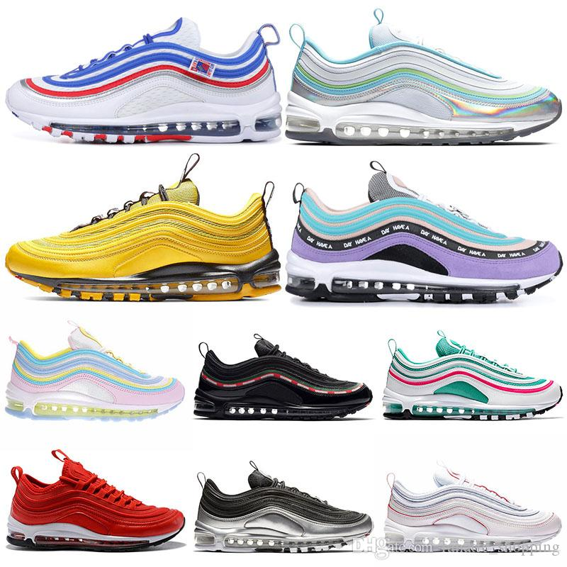 official photos 6d21f 34048 Acquista Nike Air Max 97 Shoes 2019 Nuove Scarpe Da Corsa Uomo Donna All  Star Jersey ND Spazio Viola Triple Nero Bianco Imbattuto Pack Bright Citron  Uomo ...