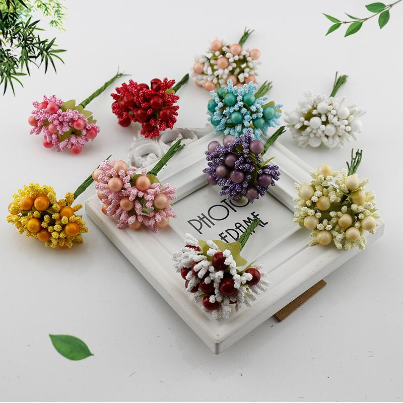 20 Pcs Berry Stamens Fake Flower Cheap Artificial Flowers For Home Brides Wedding Car Gift Box Decoration Foam Silk Diy Wreath