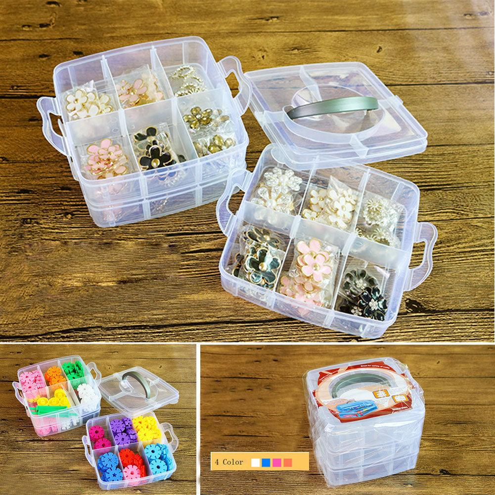 1/3 Layer Compartments Plastic Box Jewelry Bead Storage Container Craft