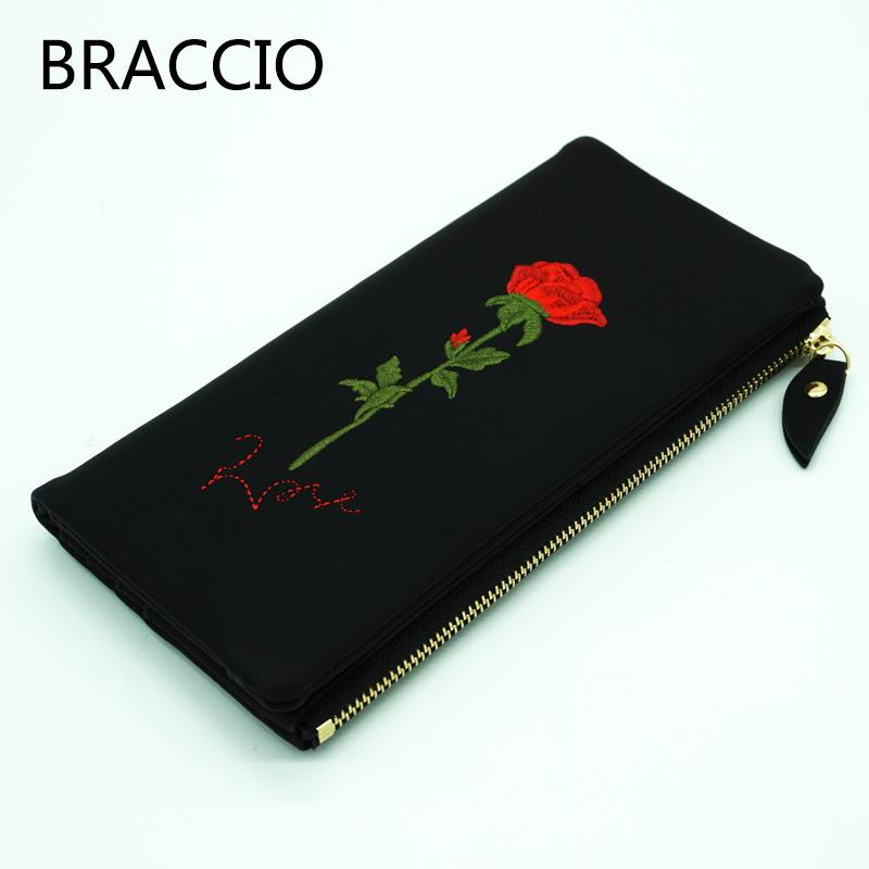 BRACCIO New arrival in November 2017 Women's long wallet Black or White rose pattern External zipper Pocket