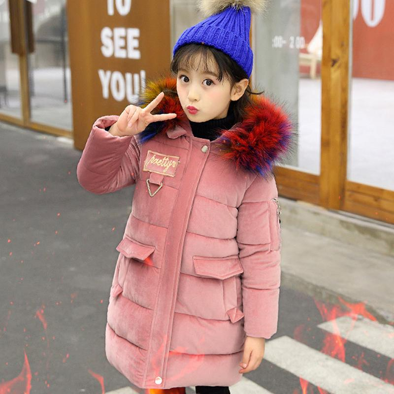 53d8ea1b3d81 Girl Winter Coat Kids Warm Cotton Padded Jacket Teenage Girls Coats With  Fur Collar Hooded Long Thick Jackets Children Clothing Boys Warm Winter  Coats Kids ...