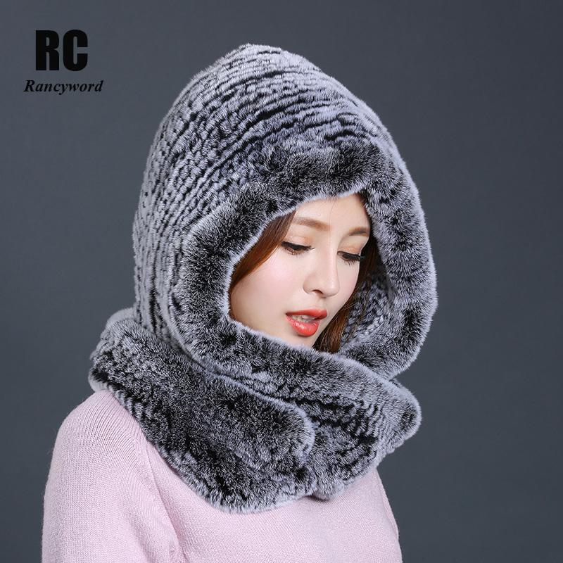 [Rancyword] Hat Women 2017 New Knitted Real Rex Rabbit Fur Hat Hooded Scarf Winter Warm Natural Fur Hat With Neck Scarves RC1319 Y18120302